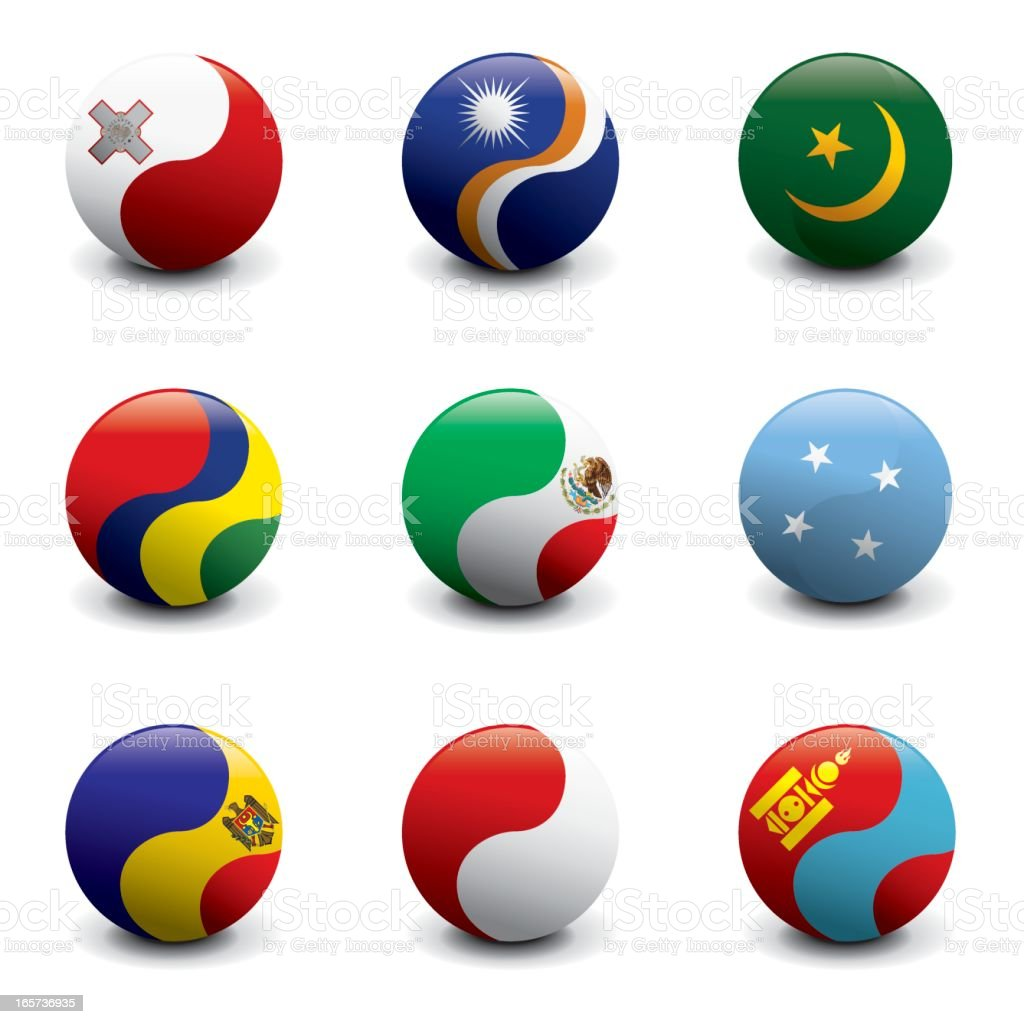 Group of Crystal Ball Flags royalty-free stock vector art