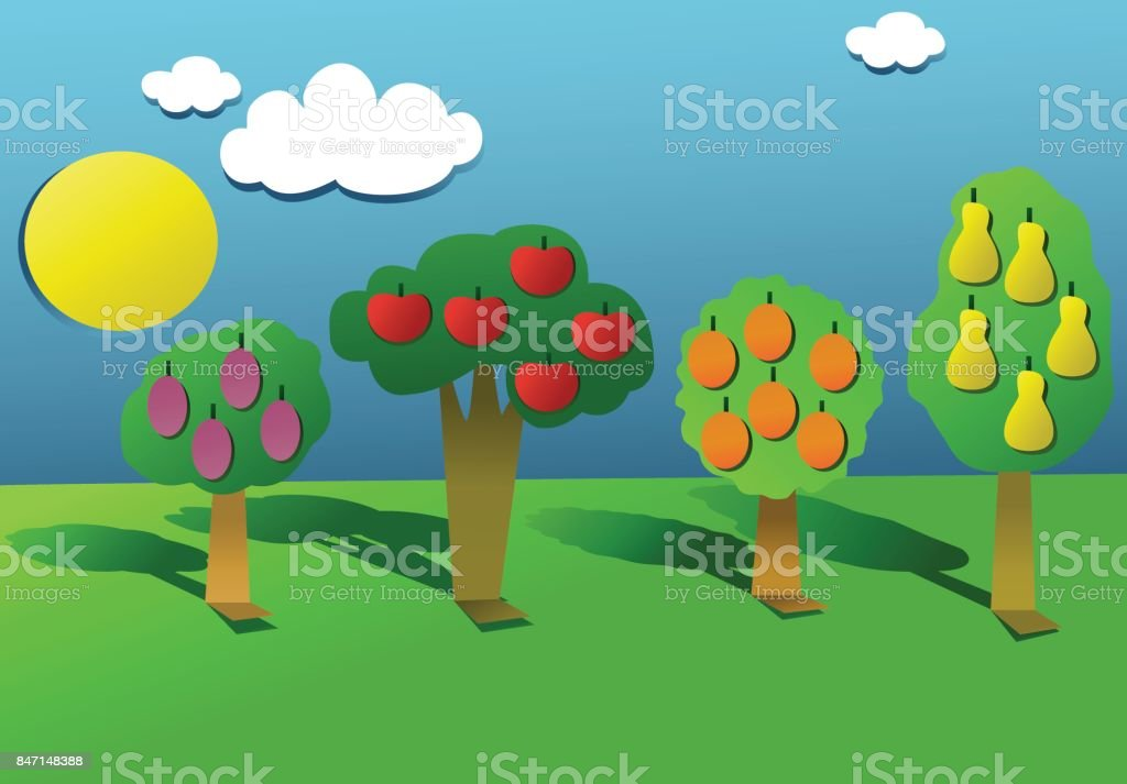 Group of cut out paper fruit trees vector art illustration