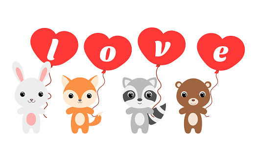 Group of cute animals. Cartoon rabbit, fox, bear, raccoon stand and hold balloons in their hands. Happy Valentine day. Set of characters isolated on white background. Vector stock illustration.