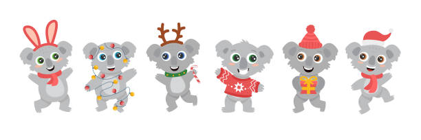 group of cute Australian koalas wombats with big eyes in a deer costume with a lollipop, in a red sweater with a gift a Christmas garland, smiling and dancing. New Year flat vector cartoon set group of cute Australian koalas wombats with big eyes in a deer costume with a lollipop, in a red sweater with a gift a Christmas garland, smiling and dancing. New Year flat vector cartoon set australian christmas stock illustrations