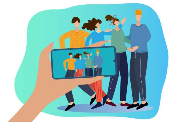 illustrazioni stock, clip art, cartoni animati e icone di tendenza di a group of cute young people are filmed on a smartphone - woman chat video mobile phone