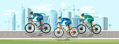 Group of cyclist at professional race banner. Cycle racing people on bicycles group of cyclists man in road sport background