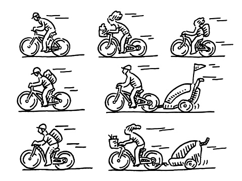 Group Of Cyclists Drawing