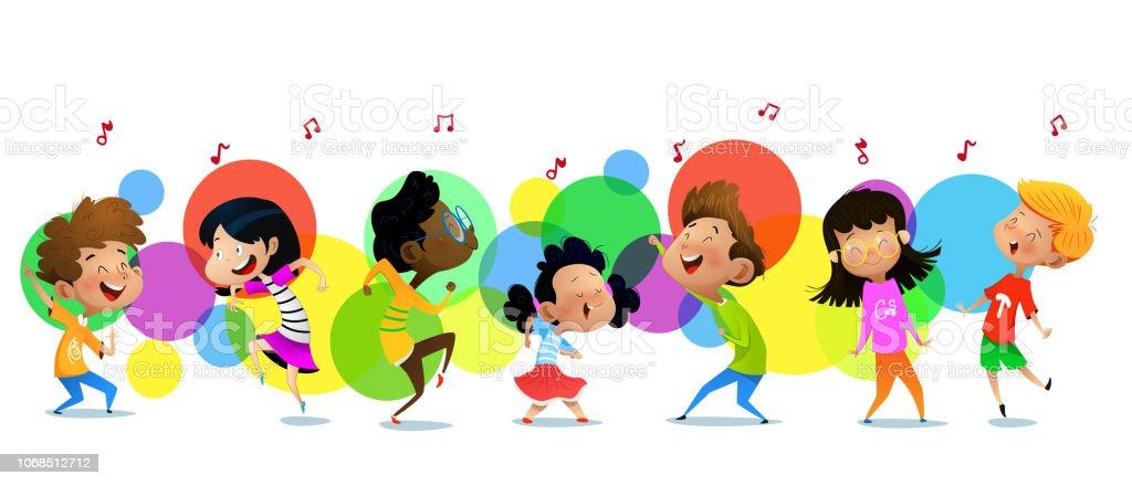 Group Of Dancing Cartoon Children Stock Illustration - Download ...