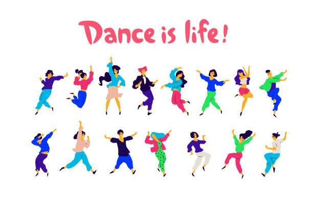 illustrations, cliparts, dessins animés et icônes de un groupe de personnes dans des poses différentes et les émotions de la danse. vector. illustrations d'hommes et de femmes. plat style. un groupe d'adolescents heureux sont danser et s'amuser. la danse est vie. école de danse ou studio. - danse