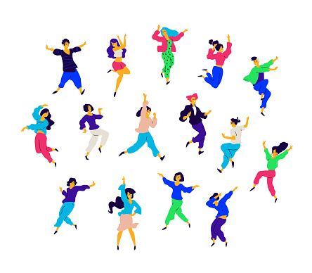 A group of dancing people in different poses and emotions. Vector. Illustrations of men and women. Flat style. A group of happy teenagers are dancing and having fun. Figure for packaging. Dance studio. clipart