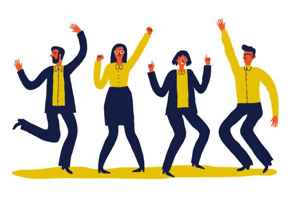 insanlar dans grubu - happy people stock illustrations