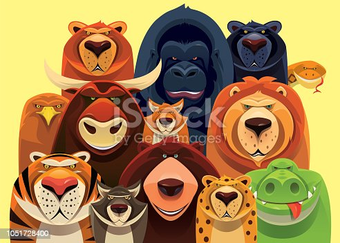 vector illustration of group of dangerous wild animals gathering