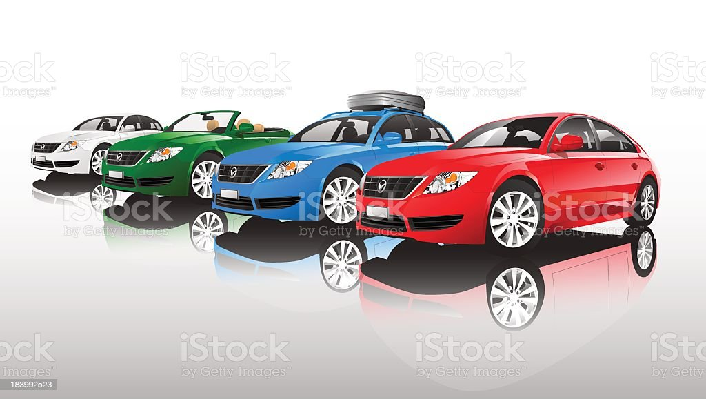 Group of different car models in different colors vector art illustration