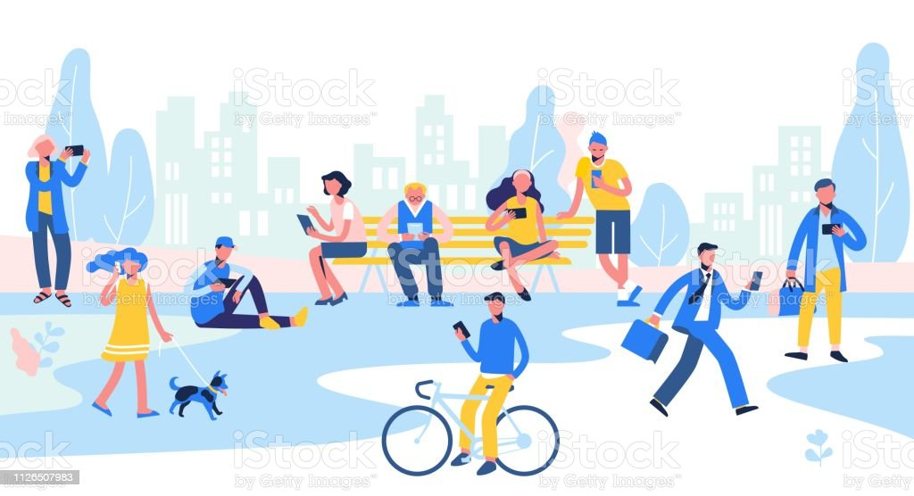 Group of different people with mobile phones and gadgets on city background. - Векторная графика Беспроводная технология роялти-фри