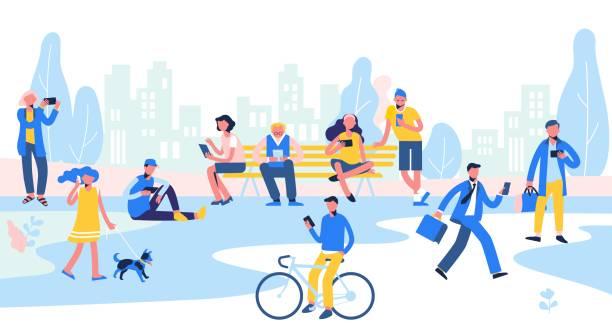 ilustrações, clipart, desenhos animados e ícones de grupo de pessoas diferentes com telemóveis e gadgets no fundo da cidade. - city