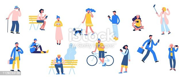 Set of male and female characters use smartphone, make selfie and texting, in flat style isolated on white background. Trendy persons crowd