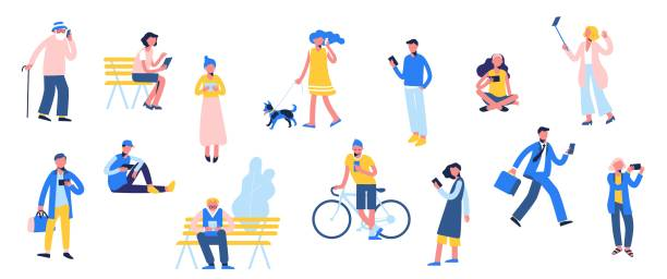 Group of different people with mobile phones and gadgets. Set of male and female characters use smartphone, make selfie and texting, in flat style isolated on white background. Trendy persons crowd addict stock illustrations