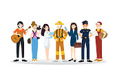 A group of different professions illustration flat design