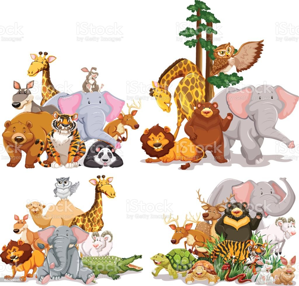 group of different types of animals stock vector art 652990452