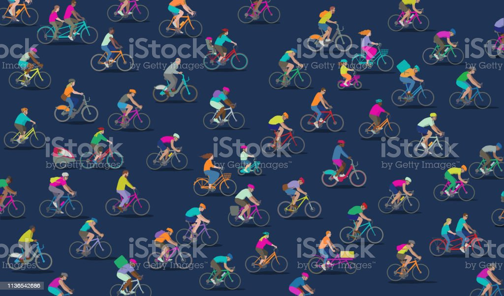 Group of different types of Cyclists Mixed group Bicycles including racing bicycle, road bike, bike courier, boris bike, dockless bike and Mountain bike African Ethnicity stock vector