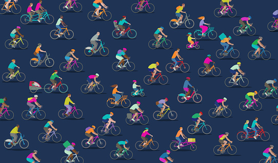 Group Of Different Types Of Cyclists Stock Illustration - Download Image Now