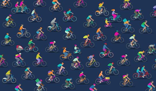 Ilustración de Grupo De Diferentes Tipos De Ciclistas y más Vectores Libres de Derechos de Accesorio de cabeza