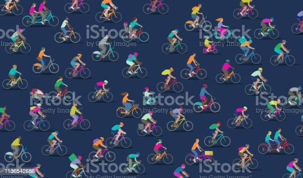 Groupe De Différents Types De Cyclistes Vecteurs libres de droits et plus d'images vectorielles de Activité de loisirs