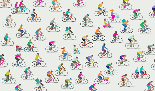 Group of different types of Cyclists