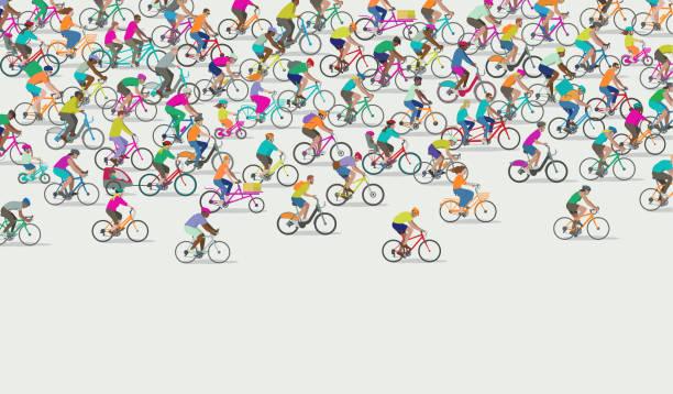 ilustraciones, imágenes clip art, dibujos animados e iconos de stock de grupo de diferentes tipos de ciclistas - andar en bicicleta