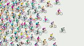 Mixed group Bicycles including racing bicycle, road bike, bike courier, boris bike, dockless bike and Mountain bike