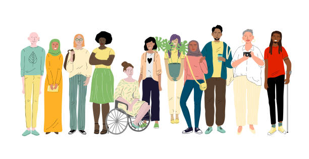 group of different young people. social diversity - diversity stock illustrations