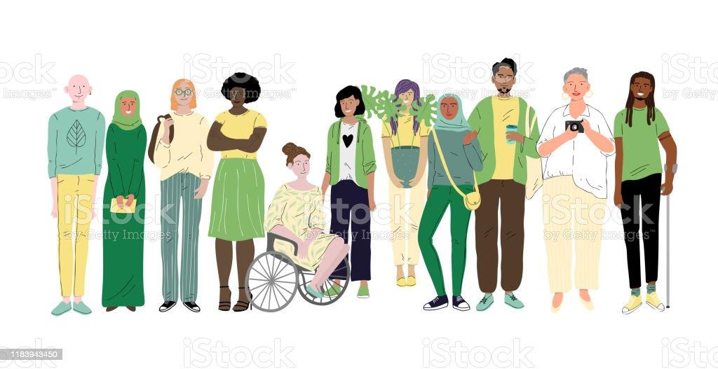 다른 젊은 사람들의 그룹. 사회적 다양성 - 로열티 프리 Employee 벡터 아트