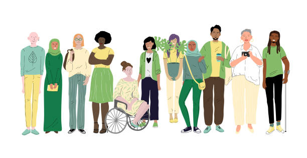Group of different young people. Social diversity Group of different young people. Social diversity community health stock illustrations