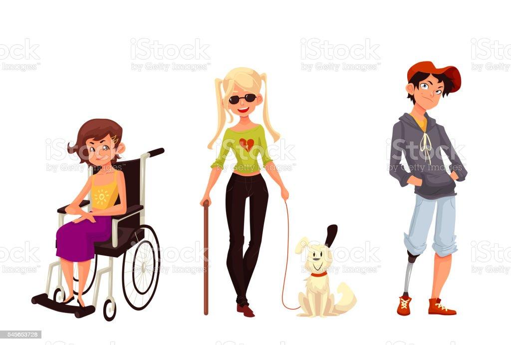 Group of disabled children, wheelchair blind prothesis vector art illustration
