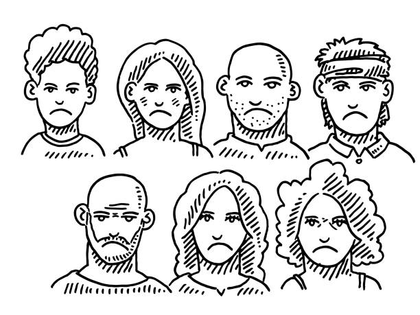 Group Of Displeased People Drawing Hand-drawn vector drawing of a Group Of Displeased People. Black-and-White sketch on a transparent background (.eps-file). Included files are EPS (v10) and Hi-Res JPG. women stock illustrations