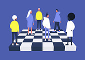 A group of diverse characters playing chess on a chessboard, management concept