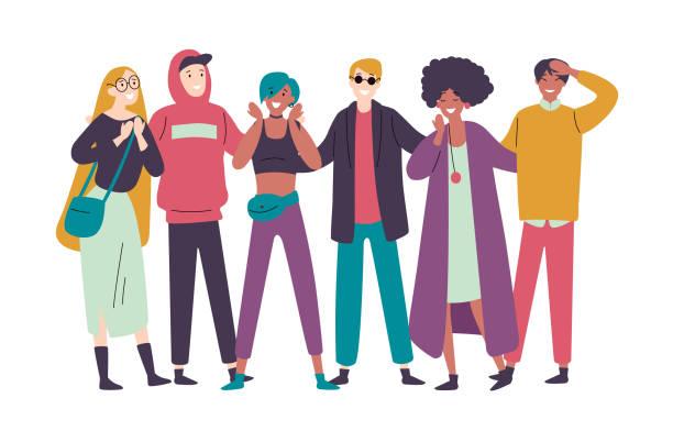 Gruppe von verschiedenen glücklichen Menschen mutisch-ethnisch zusammenstehen. – Vektorgrafik