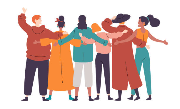 group of diverse happy people standing together rear view. - only women stock illustrations