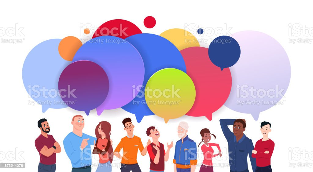 Group Of Diverse People With Colorful Chat Bubbles Cartoon Men And Women Social Media Communication Concept vector art illustration