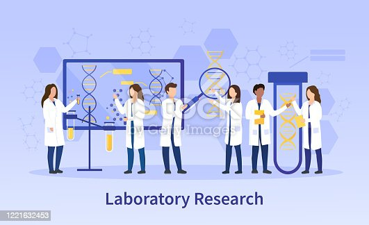 istock Group of diverse scientists doing lab research 1221632453