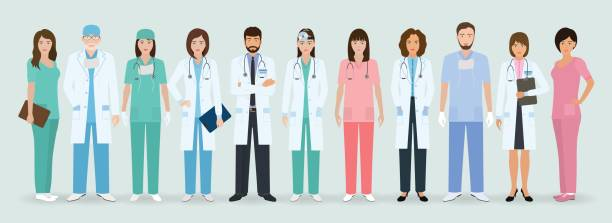illustrazioni stock, clip art, cartoni animati e icone di tendenza di group of doctors and nurses standing together. medical people. hospital staff. - personale medico