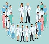 Group of doctors and nurses standing together. Medicine banner. Medical team.