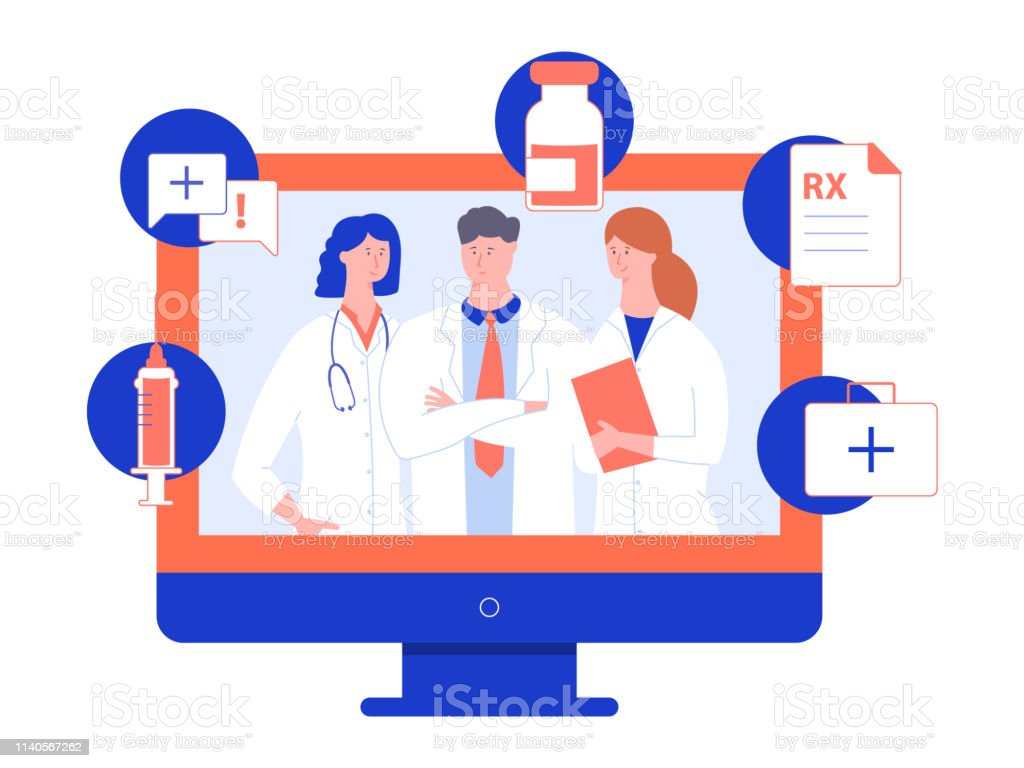 Group of doctors in white coats on the screen of a computer monitor. Group of doctors in white coats on the screen of a computer monitor. Online consultation on medical issues, service to help people. Vector illustration for landing pages and printed materials. Beauty Treatment stock vector