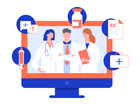 Group Of Doctors In White Coats On The Screen Of A Computer Monitor Stock Illustration - Download Image Now