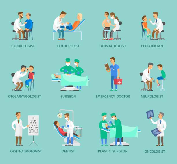 bildbanksillustrationer, clip art samt tecknat material och ikoner med grupp av läkare vektor banner i tecknad stil - kardiolog