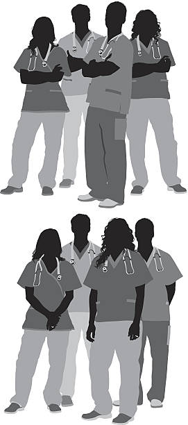 illustrations, cliparts, dessins animés et icônes de groupe de médecins en formation - infirmier
