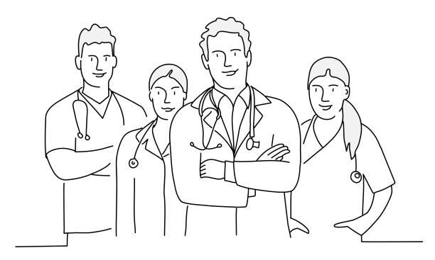 팔을 가진 의사 그룹이 교차했습니다. - doctor stock illustrations