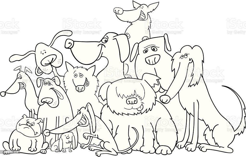 Ilustración de Grupo De Perros Para Colorear y más banco de imágenes ...