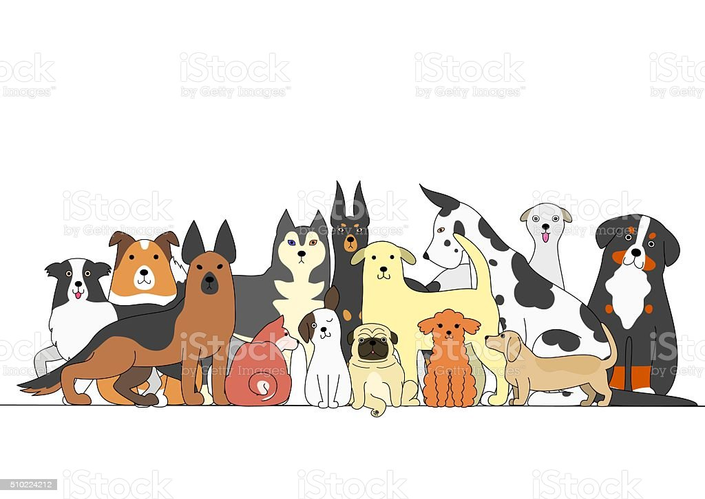 Group of dogs vector art illustration