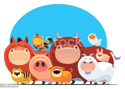 istock group of domestic animals gathering 1255180186