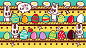 istock Group of Easter Bunnies making Easter Eggs in a factory with production lines 1303460449