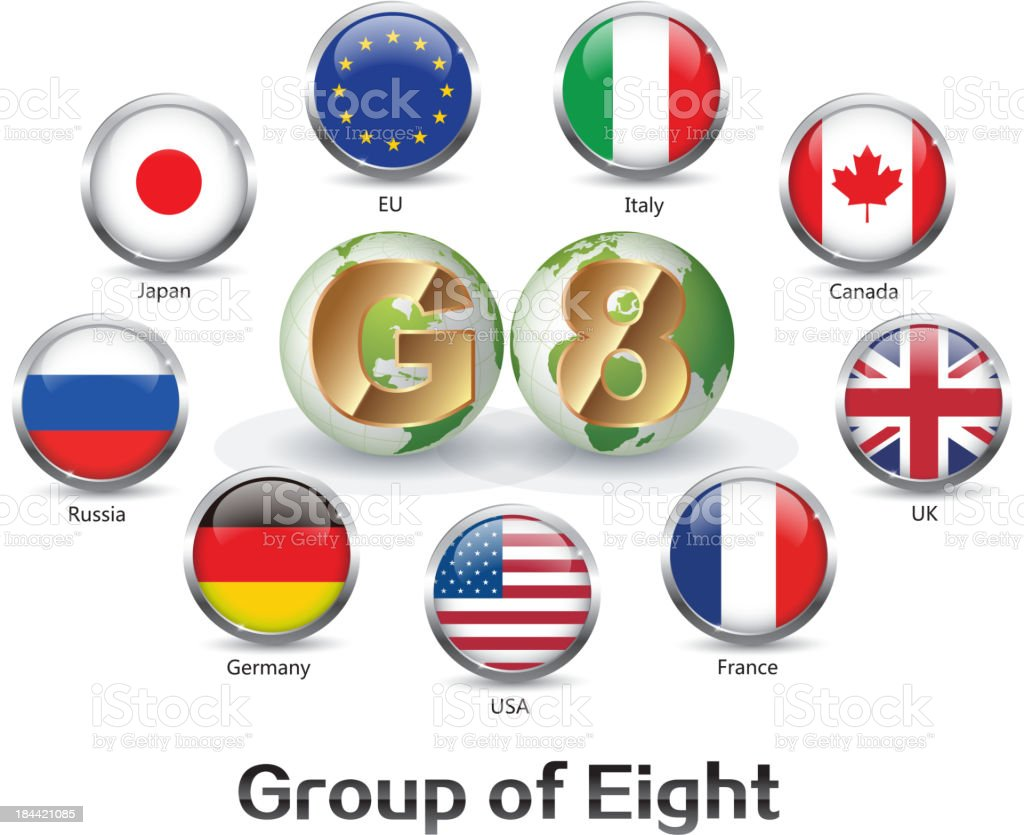 Group of eight countries vector art illustration