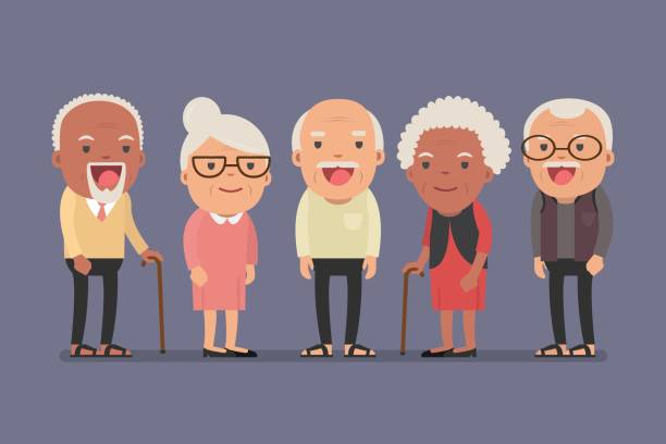 Group of elderly people stand together on background. vector art illustration