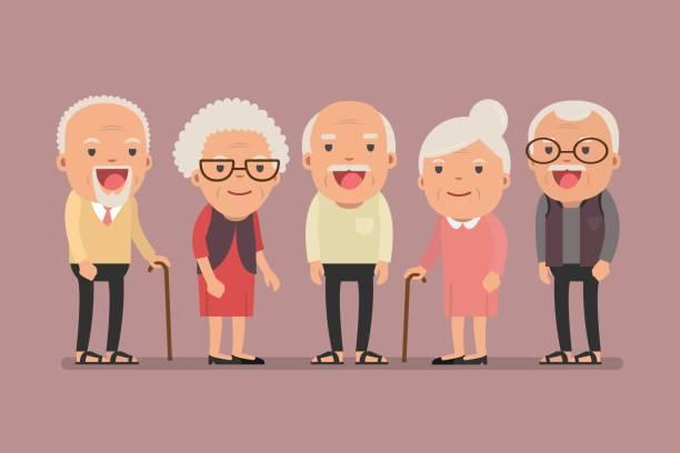group of elderly people stand together on background. - babka dziadek i babcia stock illustrations